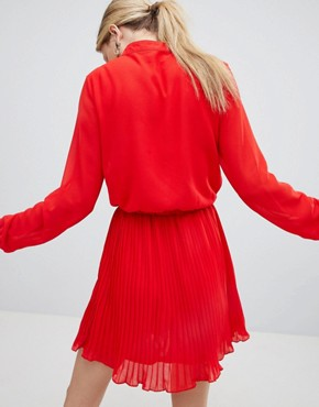 photo Red Pleated Dress by Unique 21, color Red - Image 2