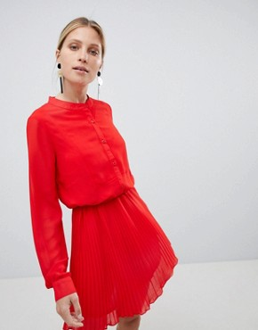 photo Red Pleated Dress by Unique 21, color Red - Image 1