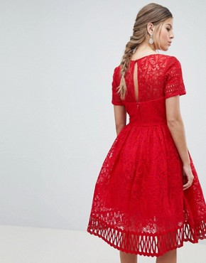 photo Lace Prom Dress with Cutwork Hem by Chi Chi London Premium, color Red - Image 2