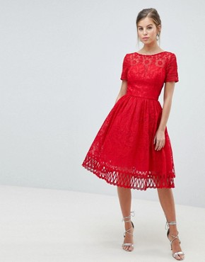 photo Lace Prom Dress with Cutwork Hem by Chi Chi London Premium, color Red - Image 1