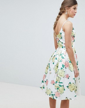 photo Overscaled Floral Print Midi Prom Dress by Chi Chi London, color Yellow Multi - Image 2