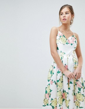 photo Overscaled Floral Print Midi Prom Dress by Chi Chi London, color Yellow Multi - Image 1