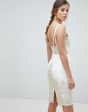 photo Lace Detail Pencil Midi Prom Dress with V-Back by Chi Chi London, color Cream/Gold - Image 2