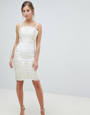 photo Lace Detail Pencil Midi Prom Dress with V-Back by Chi Chi London, color Cream/Gold - Image 1