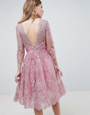 photo Embroidered Long Sleeve Midi Dress by Chi Chi London Premium, color Dusky Pink - Image 2