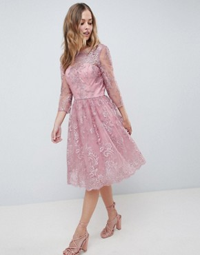 photo Embroidered Long Sleeve Midi Dress by Chi Chi London Premium, color Dusky Pink - Image 1