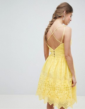 photo Cami Strap Mini Prom Dress with Open Back by Chi Chi London, color Yellow - Image 2
