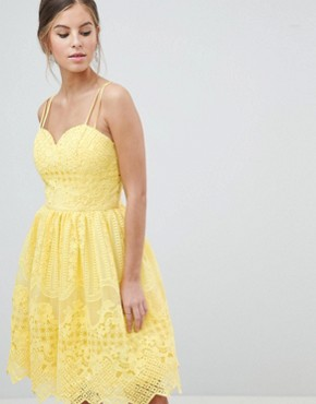 photo Cami Strap Mini Prom Dress with Open Back by Chi Chi London, color Yellow - Image 1