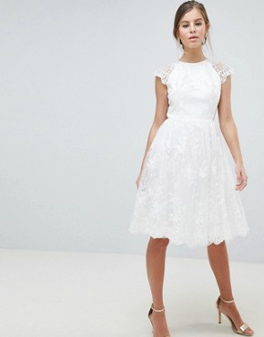 photo Lace Midi Dress by Chi Chi London Premium, color White - Image 1