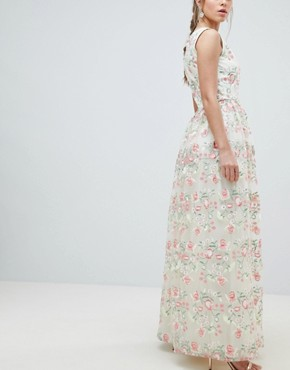 photo Plunge Front Premium Embroidered Floral Maxi Prom Dress by Chi Chi London, color Nude Multi - Image 2