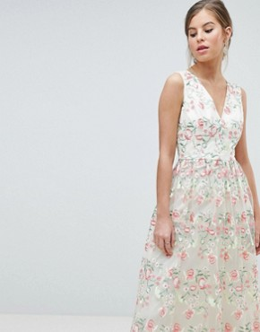 photo Plunge Front Premium Embroidered Floral Maxi Prom Dress by Chi Chi London, color Nude Multi - Image 1