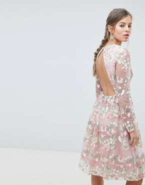 photo Embroidered Floral Long Sleeved Midi Prom Dress with Open Back by Chi Chi London Premium, color Pink Multi - Image 2