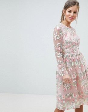 photo Embroidered Floral Long Sleeved Midi Prom Dress with Open Back by Chi Chi London Premium, color Pink Multi - Image 1