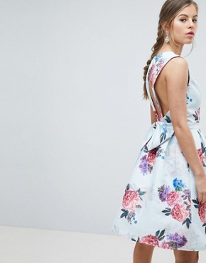 photo Bow Back Midi Prom Dress in Floral Print by Chi Chi London, color Multi Floral - Image 2