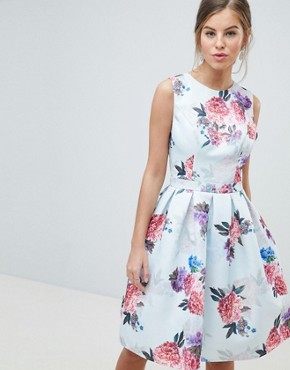 photo Bow Back Midi Prom Dress in Floral Print by Chi Chi London, color Multi Floral - Image 1