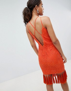 photo Lace Detail Pencil Midi Dress with V-Back by Chi Chi London Tall, color Orange - Image 2