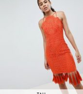 photo Lace Detail Pencil Midi Dress with V-Back by Chi Chi London Tall, color Orange - Image 1