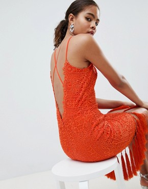 photo Lace Detail Pencil Midi Dress with V-Back by Chi Chi London Tall, color Orange - Image 3