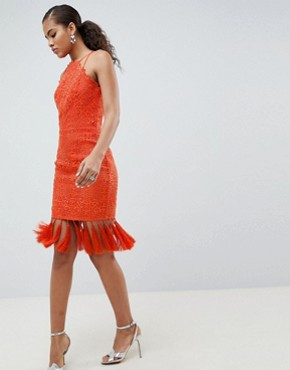 photo Lace Detail Pencil Midi Dress with V-Back by Chi Chi London Tall, color Orange - Image 4