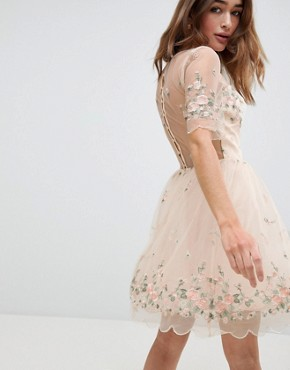 photo Floral Embroided Midi Dress by Chi Chi London Petite, color Nude Multi - Image 2