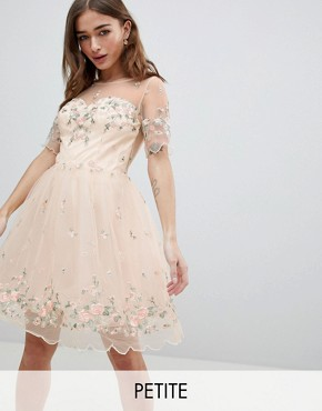 photo Floral Embroided Midi Dress by Chi Chi London Petite, color Nude Multi - Image 1
