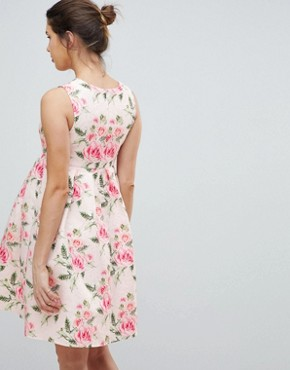 photo Printed Jacquard Dress by Chi Chi London Maternity, color Pink Multi - Image 2