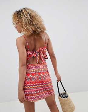 photo Cami Dress with Tie Back in Aztec Print by Glamorous Petite, color Red Aztec - Image 2