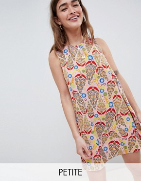 photo Sleeveless Shift Dress with Tie Back in Paisley Print by Glamorous Petite, color Pink Paisley - Image 1