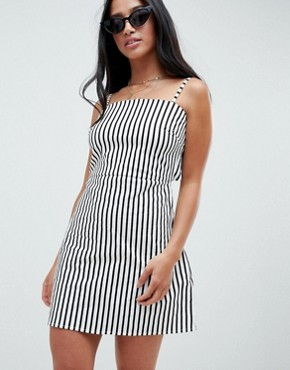 photo 90's Cami Dress with Tie Back in Stripe by Glamorous Petite, color Black White Stripe - Image 2