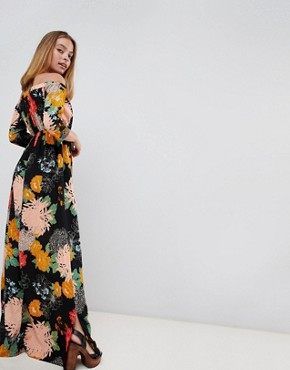 photo Off Shoulder Maxi Dress with Split in Bold Floral by Glamorous Petite, color Black Floral - Image 2