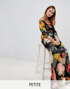 photo Off Shoulder Maxi Dress with Split in Bold Floral by Glamorous Petite, color Black Floral - Image 1