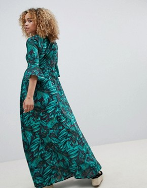 photo Maxi Smock Dress with Fluted Sleeves in Tropical Print by Glamorous Petite, color Tropical Print - Image 2