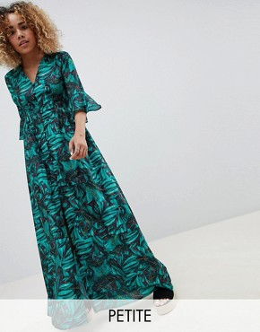 photo Maxi Smock Dress with Fluted Sleeves in Tropical Print by Glamorous Petite, color Tropical Print - Image 1