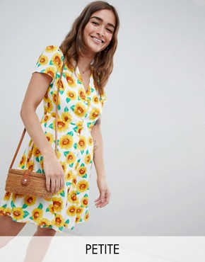 photo Button Down Tea Dress in Sunflower Print by Glamorous Petite, color Sunflower Print - Image 1