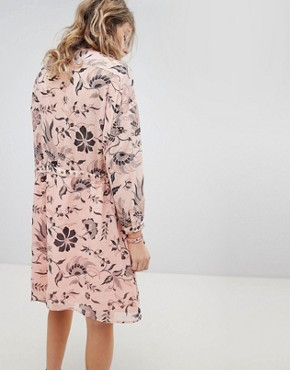 photo Printed Oversized Dress with Lace Up Detail by Maison Scotch, color Pink - Image 2