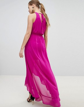 photo Wrap Front Midaxi Dress with Chain Strap Detail by Morgan, color Fuchsia - Image 2