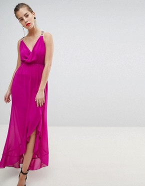 photo Wrap Front Midaxi Dress with Chain Strap Detail by Morgan, color Fuchsia - Image 1