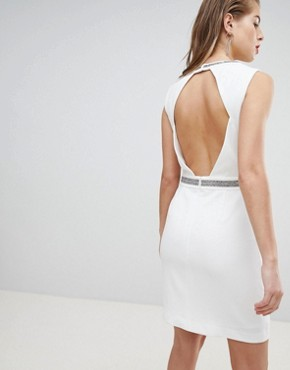 photo Embellished Detail Plunge Mini Dress by Morgan, color White - Image 2