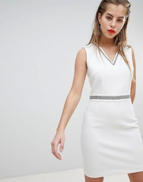 photo Embellished Detail Plunge Mini Dress by Morgan, color White - Image 1