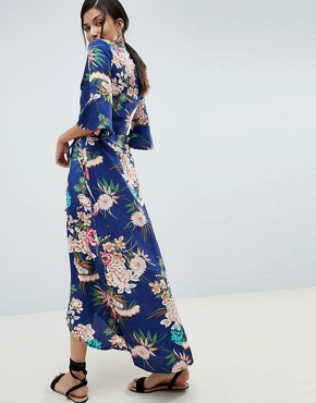photo Floral Maxi Dress with Wrap Front by Parisian Tall, color Blue - Image 2