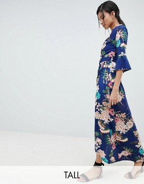 photo Floral Maxi Dress with Wrap Front by Parisian Tall, color Blue - Image 1