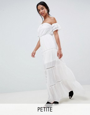 photo Off Shoulder Crochet Maxi Dress by Parisian Petite, color White - Image 1
