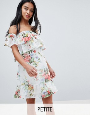 photo Off Shoulder Tiered Dress in Floral Print by Parisian Petite, color White - Image 1