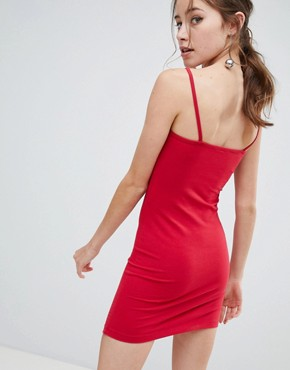 photo Bodycon Dress with Square Neck in Red by Miss Selfridge, color Red - Image 2