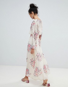 photo High Neck Floral Mesh Maxi Dress by Miss Selfridge, color Nude - Image 2