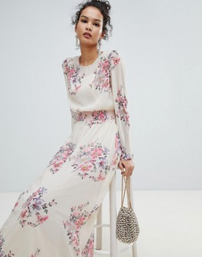 photo High Neck Floral Mesh Maxi Dress by Miss Selfridge, color Nude - Image 1