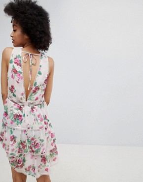 photo Tiered Floral A-Line Dress by Miss Selfridge, color Floral - Image 2