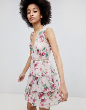 photo Tiered Floral A-Line Dress by Miss Selfridge, color Floral - Image 1