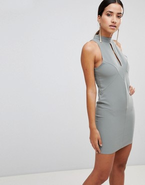 photo Key Hole Bodycon Dress by Love, color Sage - Image 1
