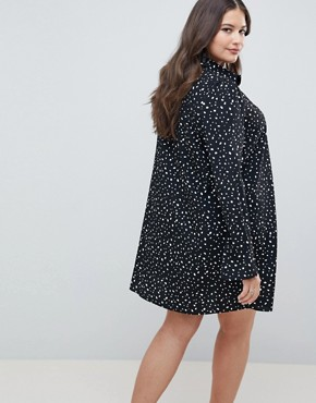 photo Long Sleeve Shirt Mini Dress in Scatter Spot by ASOS DESIGN Curve, color Black/White - Image 2